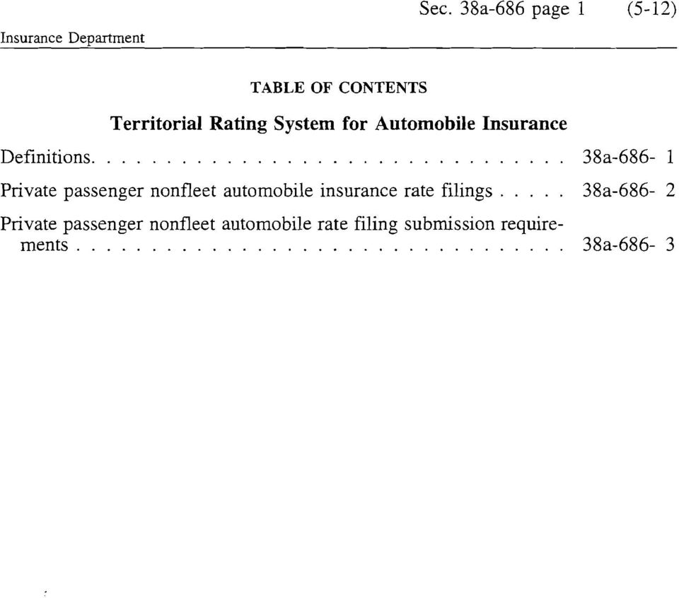 38a-686-1 Private passenger nonfleet automobile insurance rate