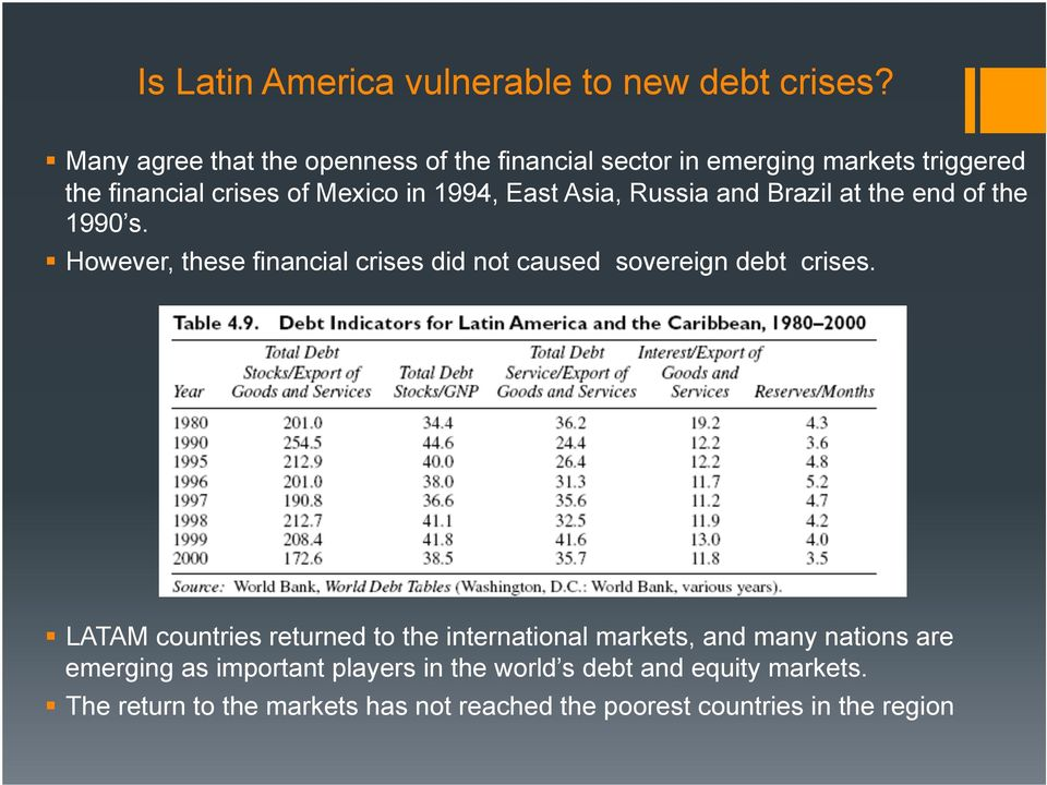 Asia, Russia and Brazil at the end of the 1990 s. However, these financial crises did not caused sovereign debt crises.