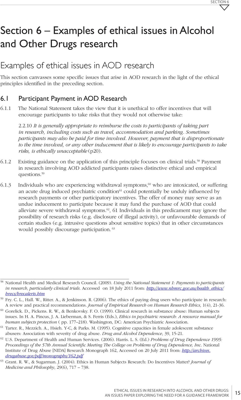 Participant Payment in AOD Research 6.1.