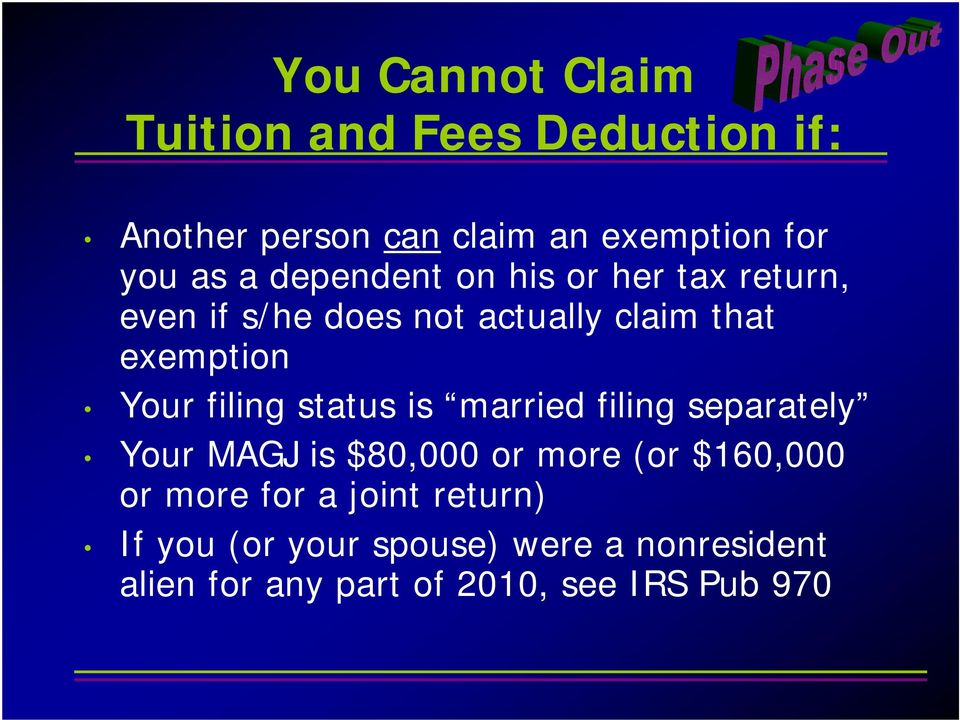 filing status is married filing separately Your MAGJ is $80,000 or more (or $160,000 or more for