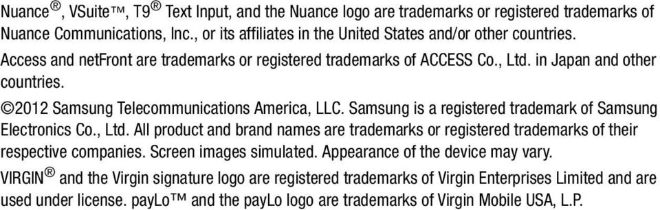 Samsung is a registered trademark of Samsung Electronics Co., Ltd. All product and brand names are trademarks or registered trademarks of their respective companies.