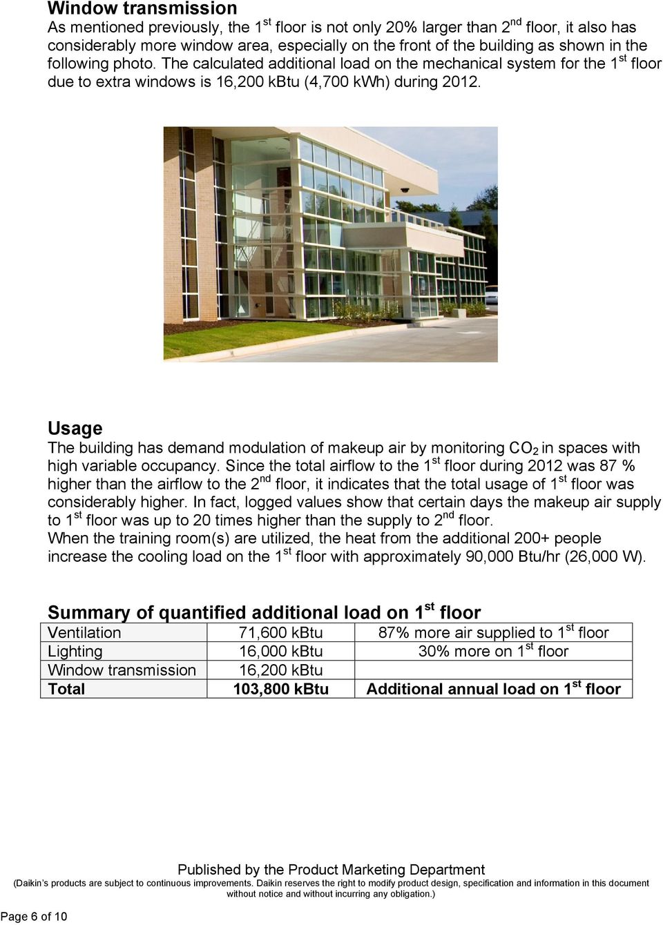 Usage The building has demand modulation of makeup air by monitoring CO 2 in spaces with high variable occupancy.