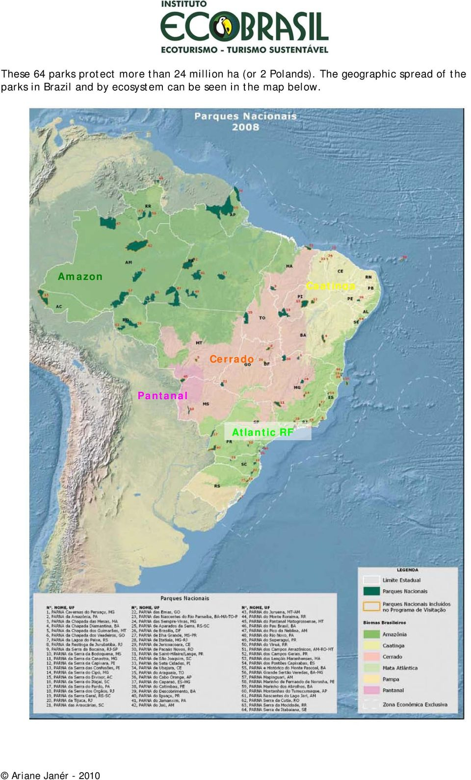 The geographic spread of the parks in Brazil and