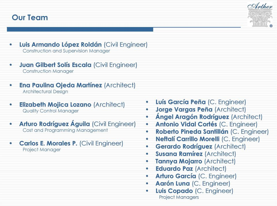 (Civil Engineer) Project Manager Luís s García a Peña (C. Engineer) Jorge Vargas Peña (Architect) Ángel Aragón n Rodríguez (Architect) Antonio Vidal Cortés (C. Engineer) Roberto Pineda Santillán (C.