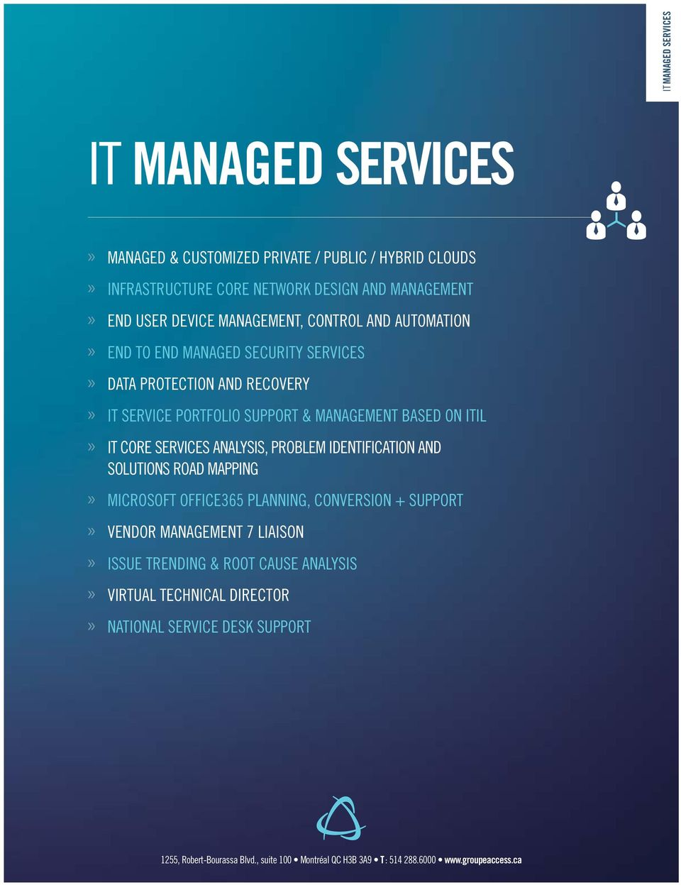 services analysis, problem identification and solutions road mapping Microsoft Office365 planning, conversion + support Vendor management 7 liaison Issue trending &