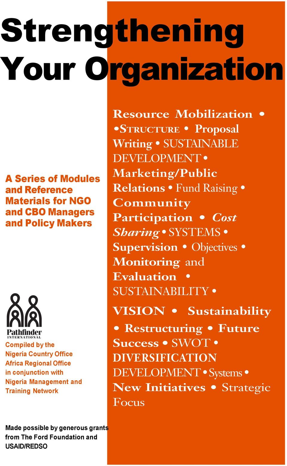 Marketing/Public Relations Fund Raising Community Participation Cost Sharing SYSTEMS Supervision Objectives Monitoring and Evaluation SUSTAINABILITY VISION