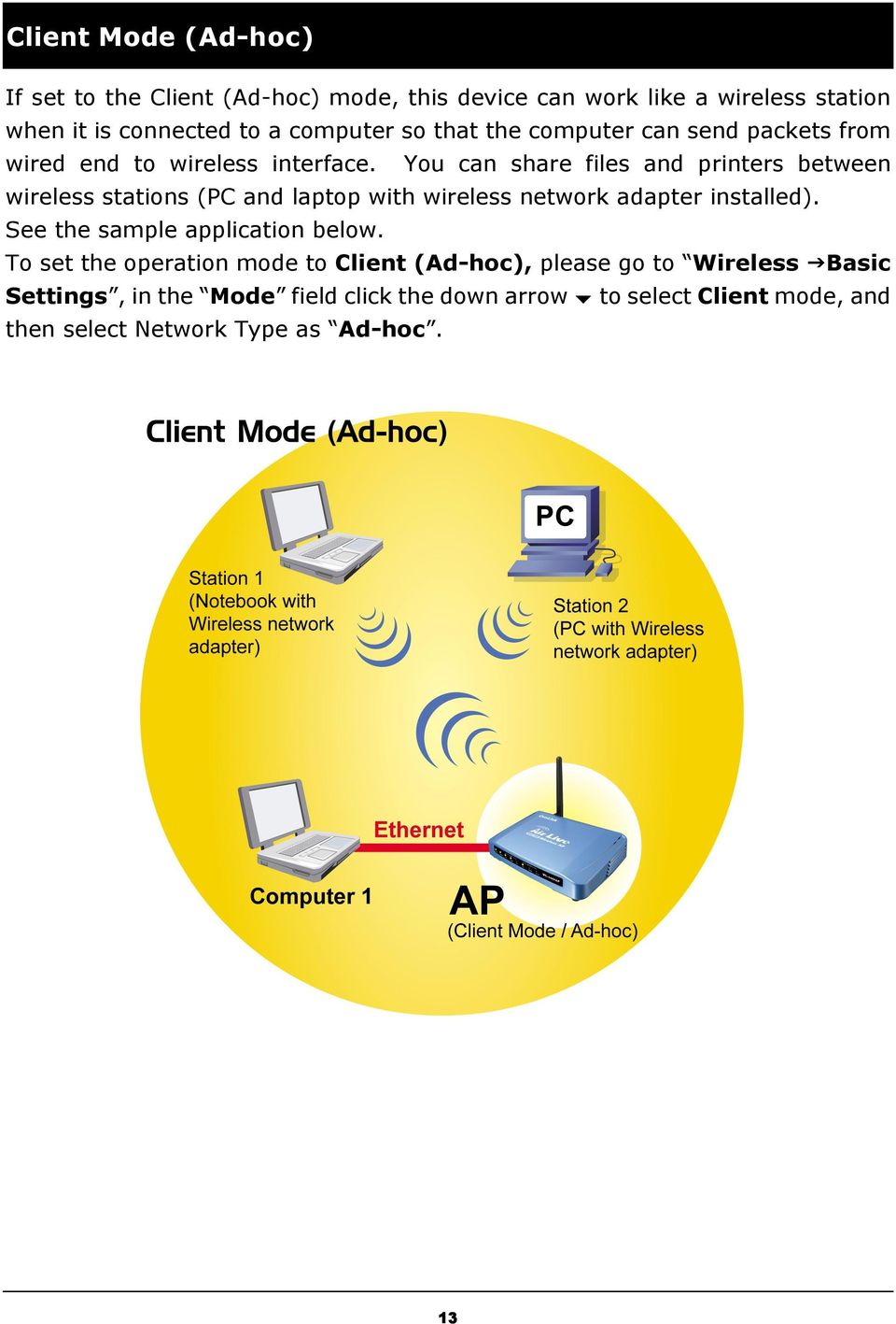 You can share files and printers between wireless stations (PC and laptop with wireless network adapter installed).
