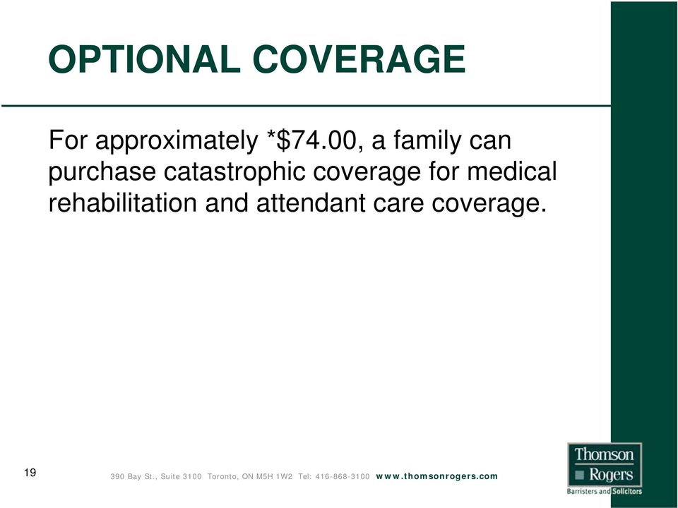 catastrophic coverage for medical