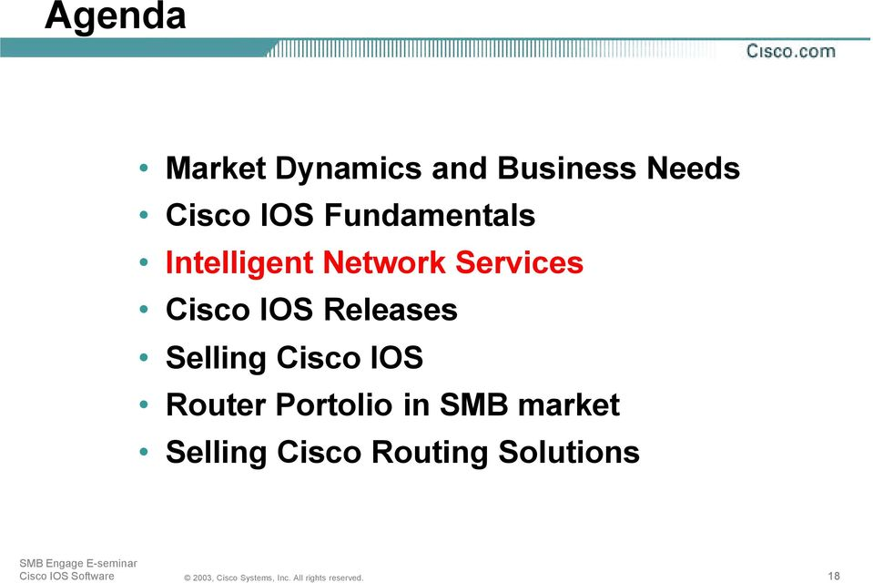 Cisco IOS Releases Selling Cisco IOS Router