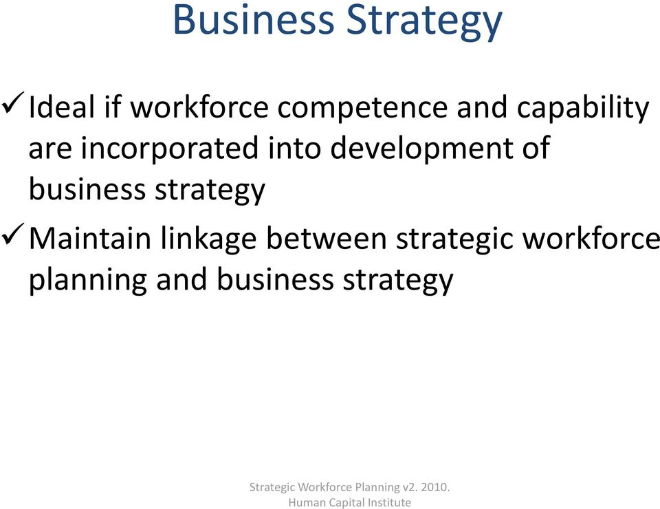 linkage between strategic workforce planning and business