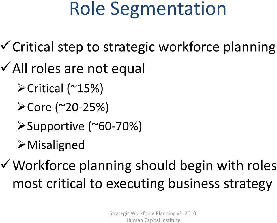 Misaligned Workforce planning should begin with roles most critical to