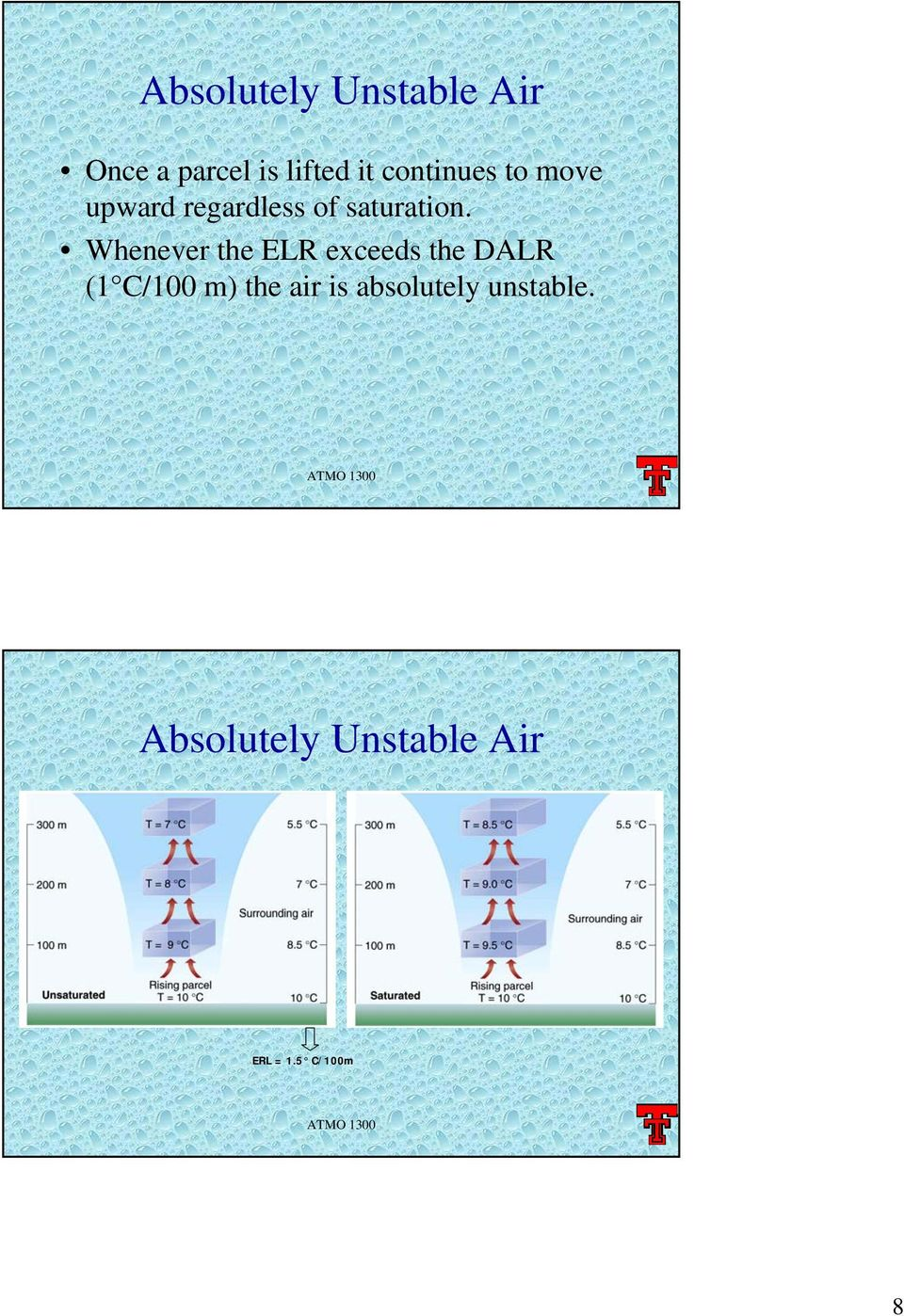 Whenever the ELR exceeds the DALR (1 C/100 m) the air