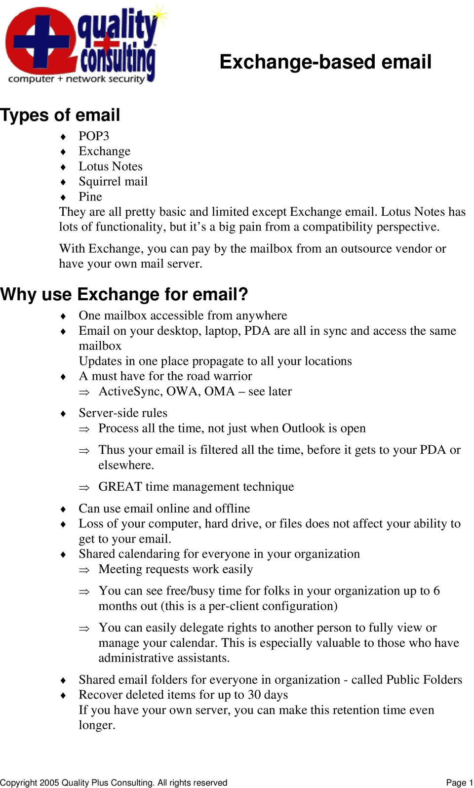 Why use Exchange for email?