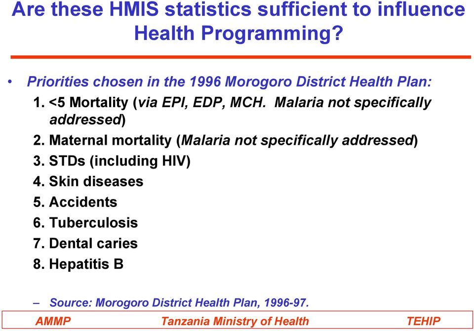 Malaria not specifically addressed) 2. Maternal mortality (Malaria not specifically addressed) 3.