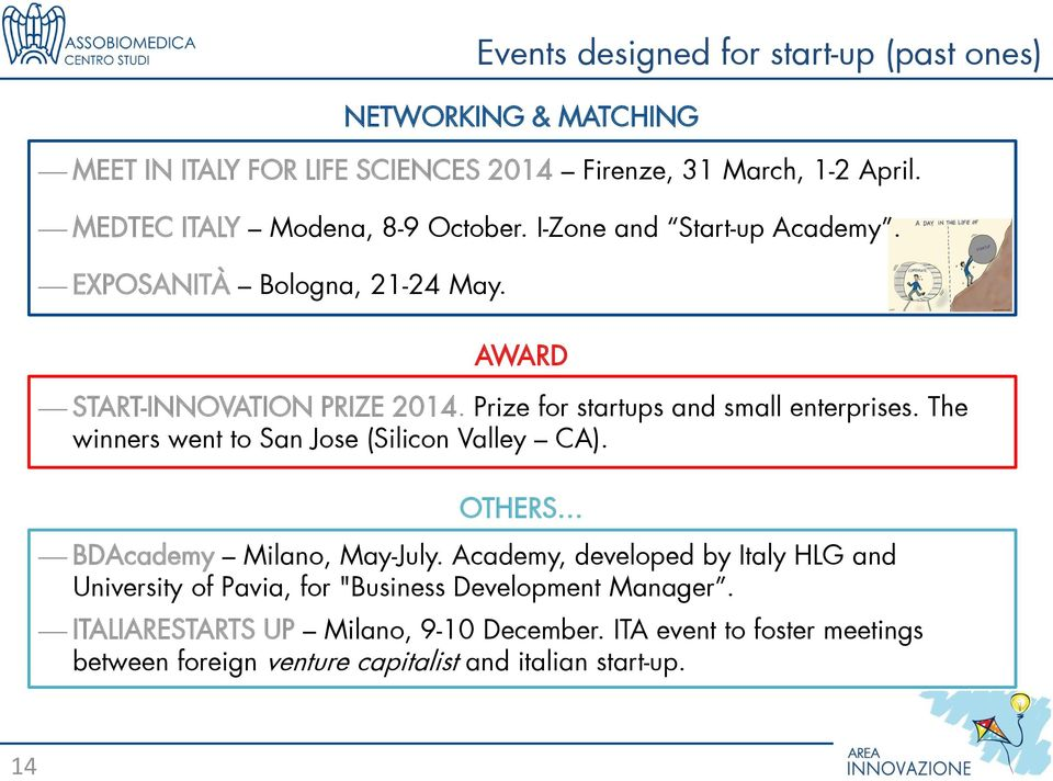 Prize for startups and small enterprises. The winners went to San Jose (Silicon Valley CA). OTHERS BDAcademy Milano, May-July.