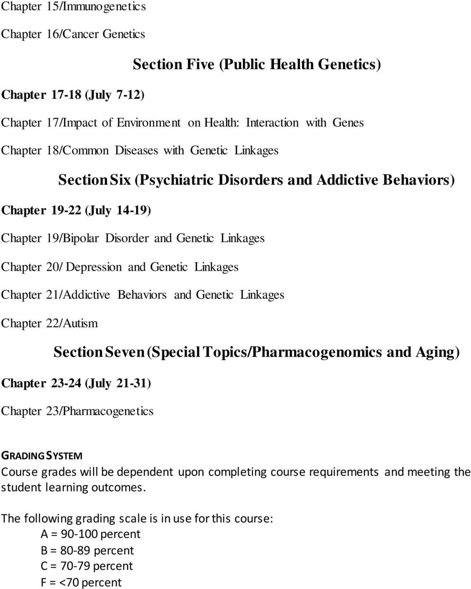 and Genetic Linkages Chapter 21/Addictive Behaviors and Genetic Linkages Chapter 22/Autism Section Seven (Special Topics/Pharmacogenomics and Aging) Chapter 23-24 (July 21-31) Chapter