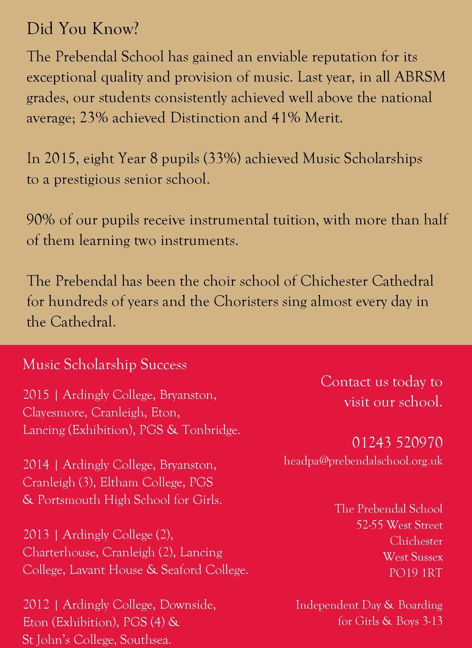 In 2015, eight Year 8 pupils (33%) achieved Music Scholarships to a prestigious senior school. 90% of our pupils receive instrumental tuition, with more than half of them learning two instruments.