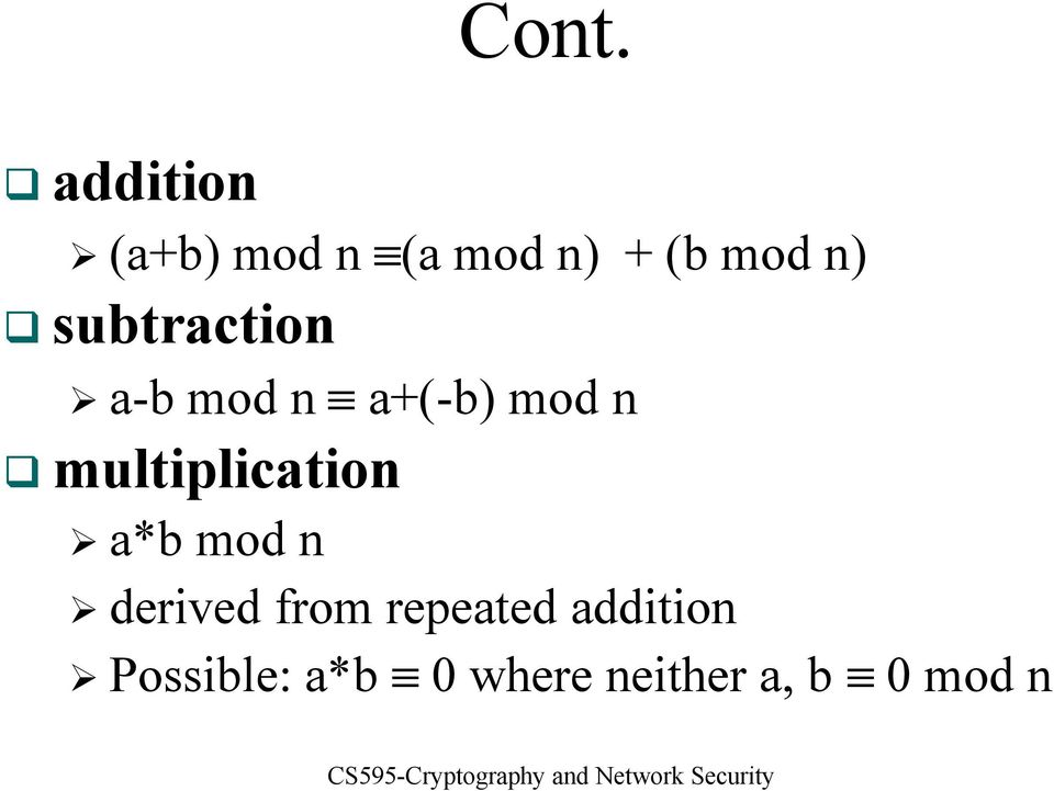 multiplication a*b mod n derived from