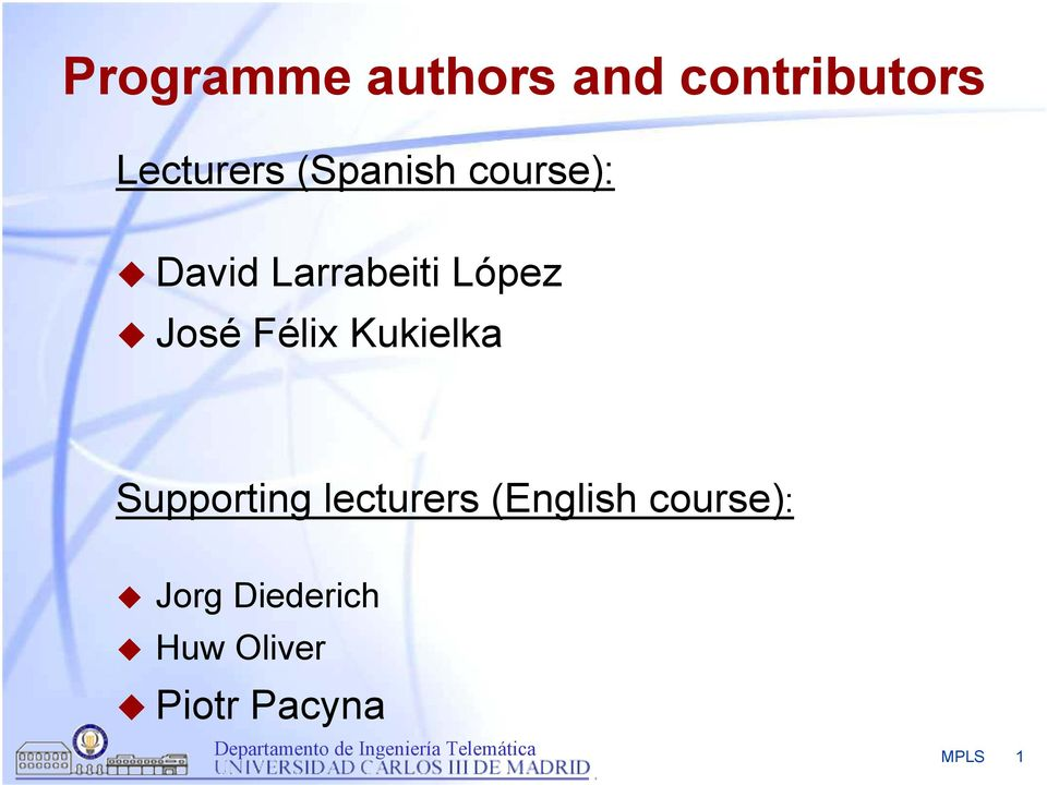 Félix Kukielka Supporting lecturers (English
