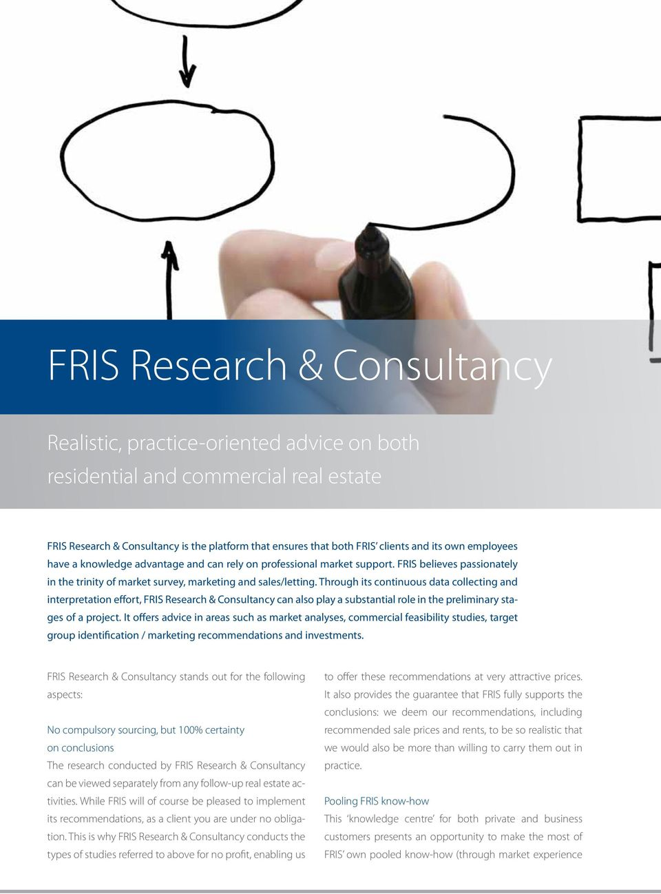 Through its continuous data collecting and interpretation effort, FRIS Research & Consultancy can also play a substantial role in the preliminary stages of a project.