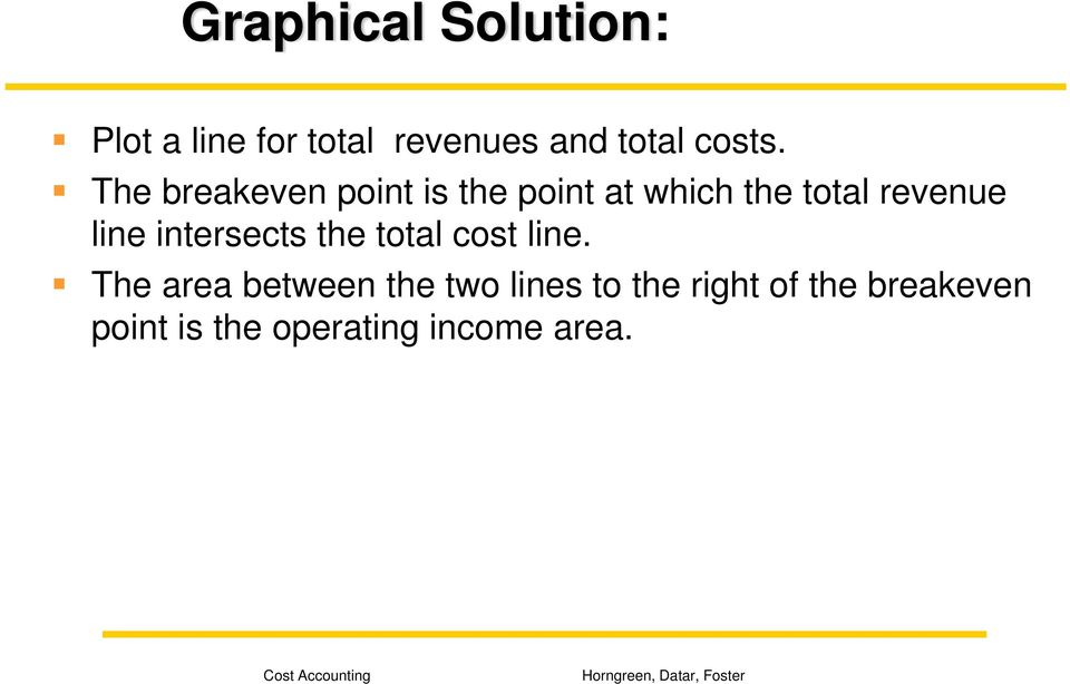 The breakeven point is the point at which the total revenue line
