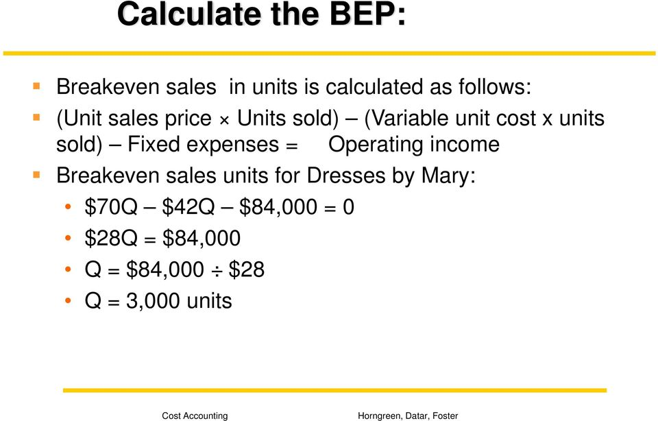 expenses = Operating income Breakeven sales units for Dresses by
