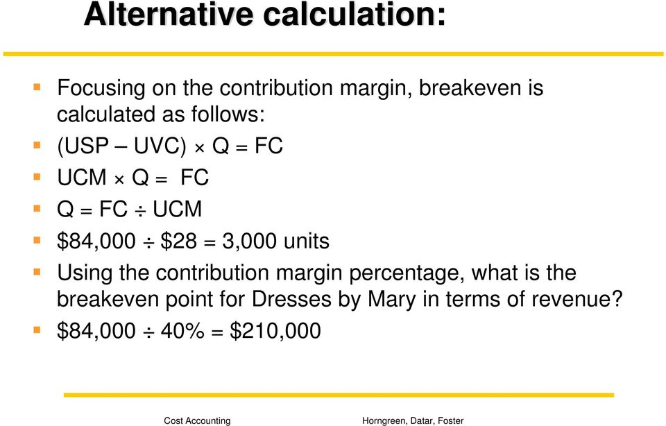$28 = 3,000 units Using the contribution margin percentage, what is the