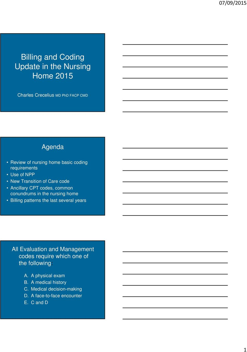 nursing home Billing patterns the last several years All Evaluation and Management codes require which one of the