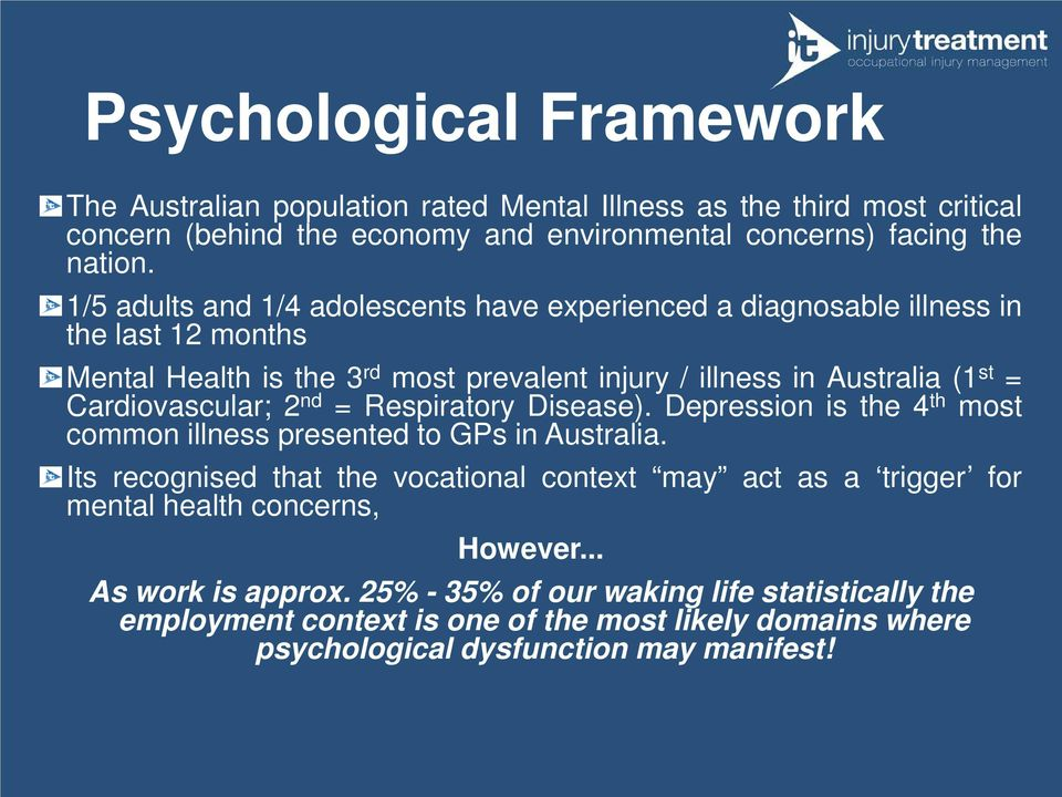 Cardiovascular; 2 nd = Respiratory Disease). Depression is the 4 th most common illness presented to GPs in Australia.