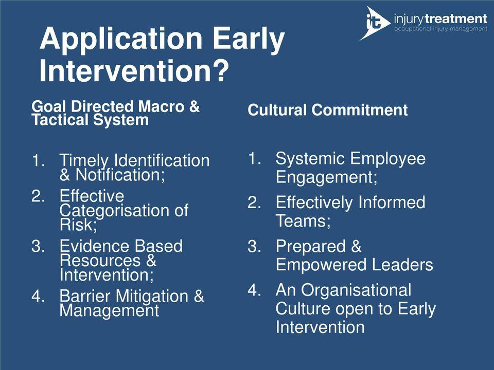 Evidence Based Resources & Intervention; 4. Barrier Mitigation & Management Cultural Commitment 1.