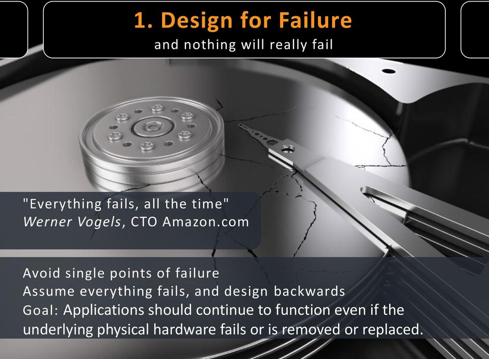 com Avoid single points of failure Assume everything fails, and design
