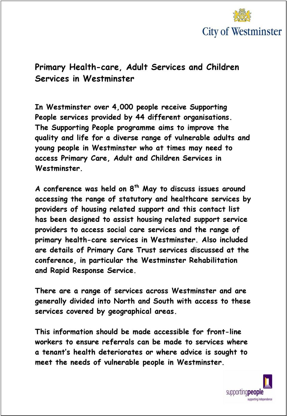 Children Services in Westminster.