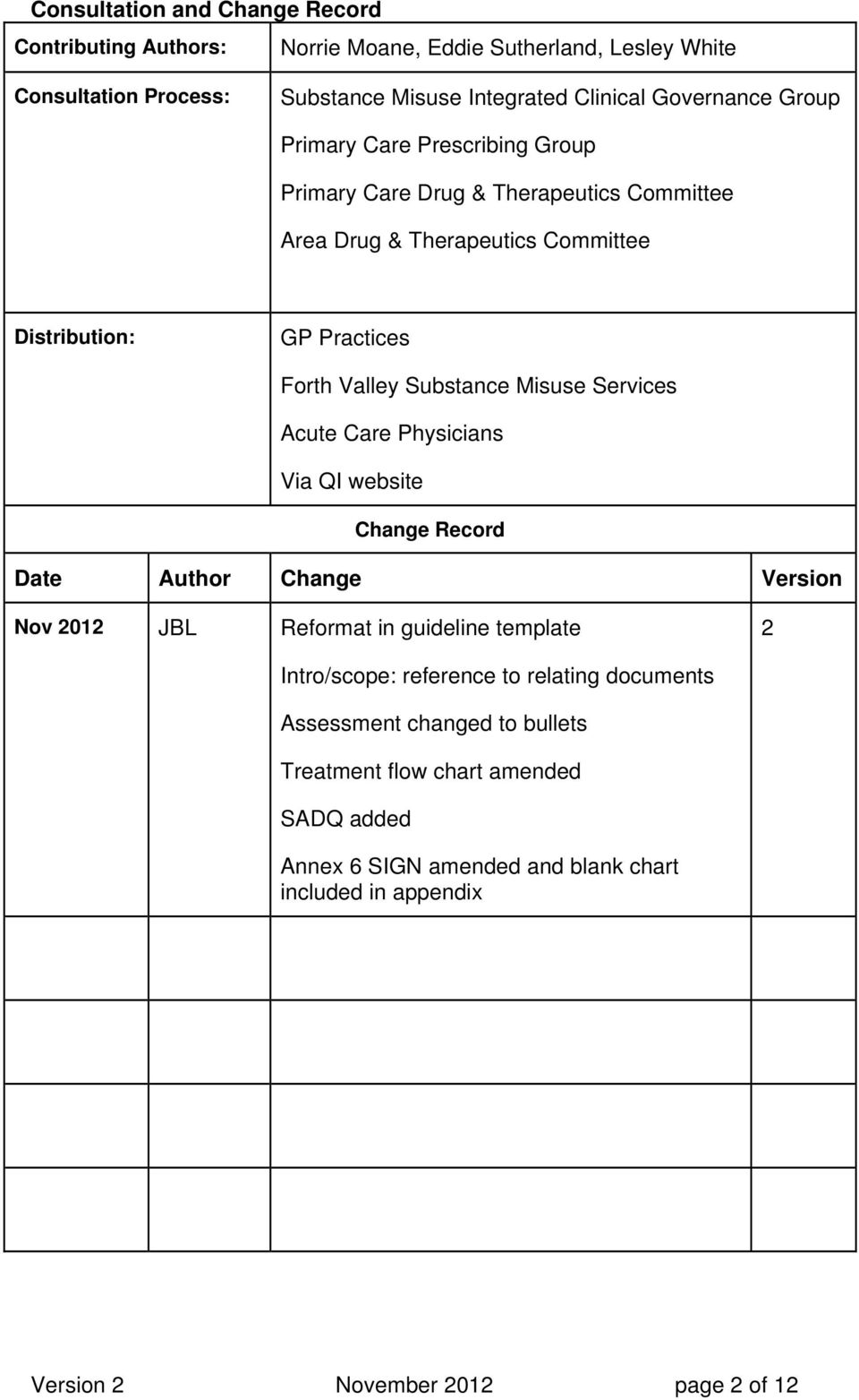 Misuse Services Acute Care Physicians Via QI website Change Record Date Author Change Version Nov 2012 JBL Reformat in guideline template 2 Intro/scope: reference to