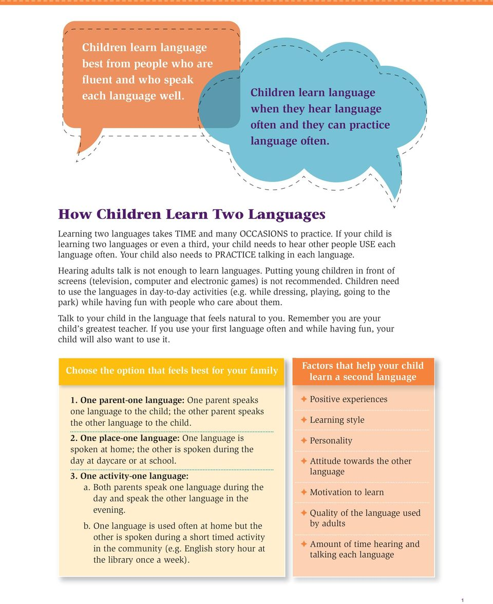 If your child is learning two languages or even a third, your child needs to hear other people USE each language often. Your child also needs to PRACTICE talking in each language.