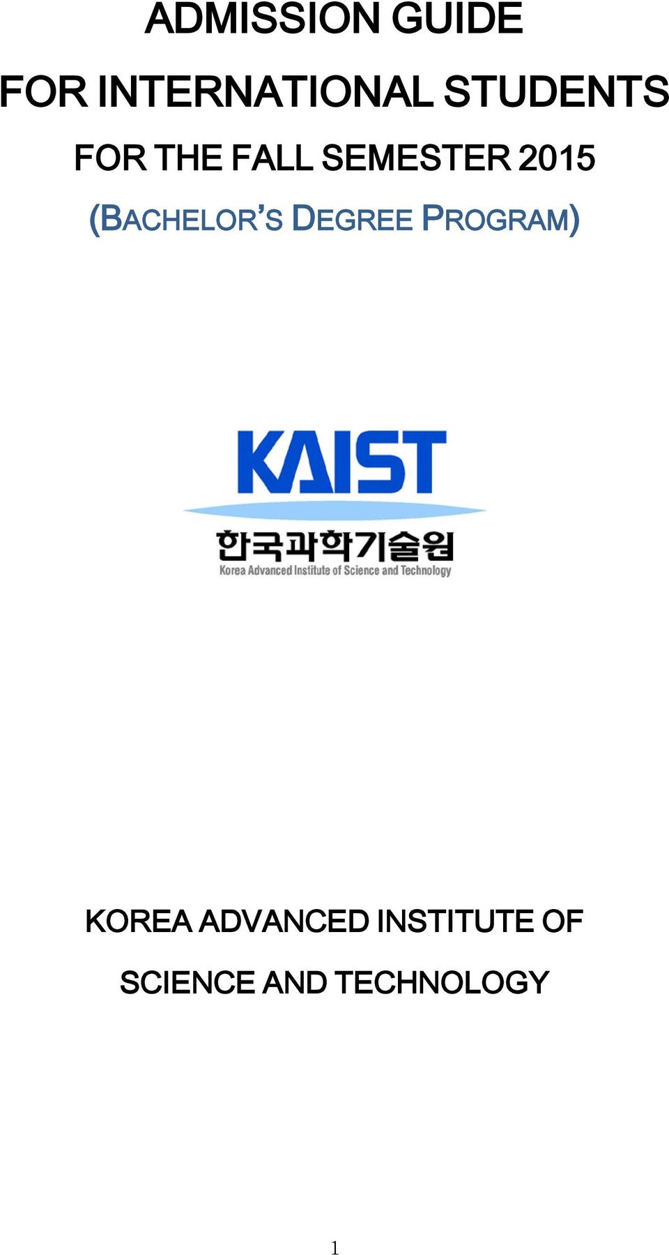 (BACHELOR S DEGREE PROGRAM) KOREA