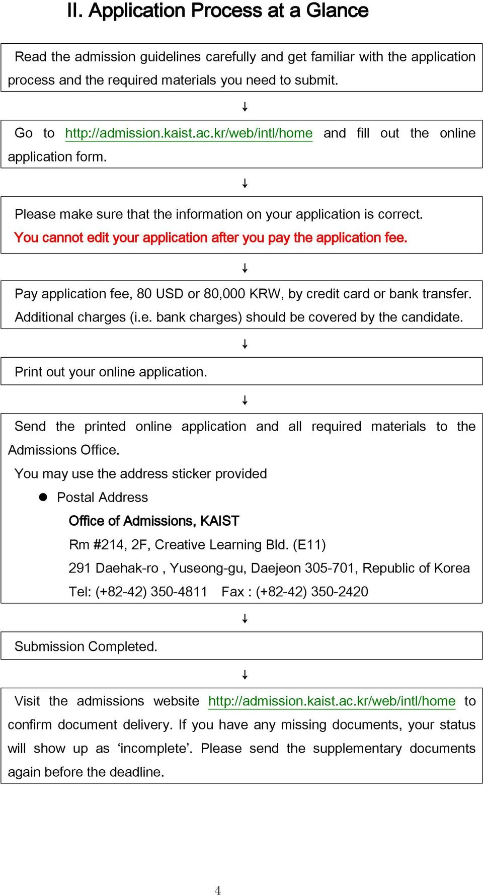 Pay application fee, 80 USD or 80,000 KRW, by credit card or bank transfer. Additional charges (i.e. bank charges) should be covered by the candidate. Print out your online application.