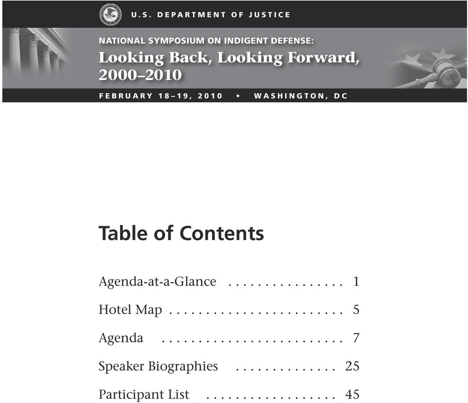 19, 2010 WAShINGTON, DC Table of Contents Agenda-at-a-Glance.