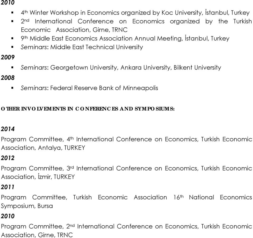 Federal Reserve Bank of Minneapolis OTHER INVOLVEMENTS IN CONFERENCES AND SYMPOSIUMS: 2014 Program Committee, 4 th International Conference on Economics, Turkish Economic Association, Antalya, TURKEY