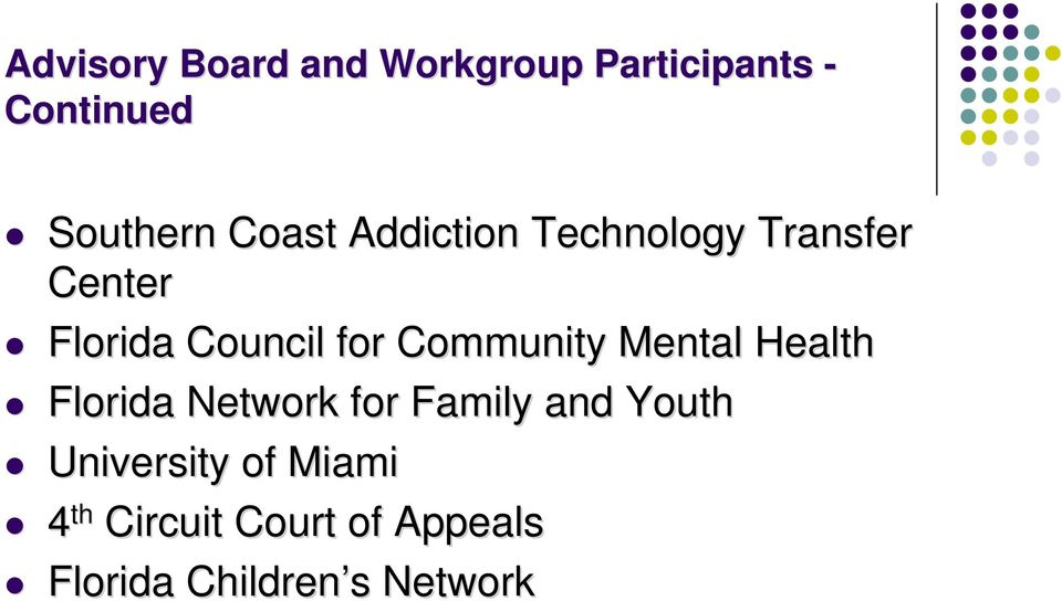 Community Mental Health Florida Network for Family and Youth