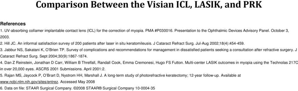 Survey of complications and recommendations for management in dissatisfied patients seeking a consultation after refractive surgery. J Cataract Refract Surg. Sept 2004;30(9):1867-1874. 4.