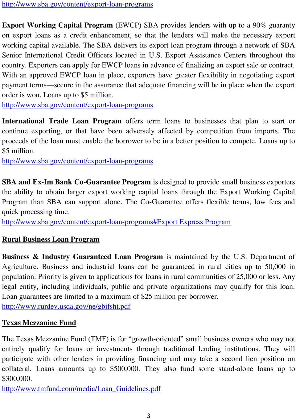 necessary export working capital available. The SBA delivers its export loan program through a network of SBA Senior International Credit Officers located in U.S. Export Assistance Centers throughout the country.