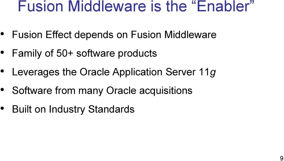 products Leverages the Oracle Application Server 11g