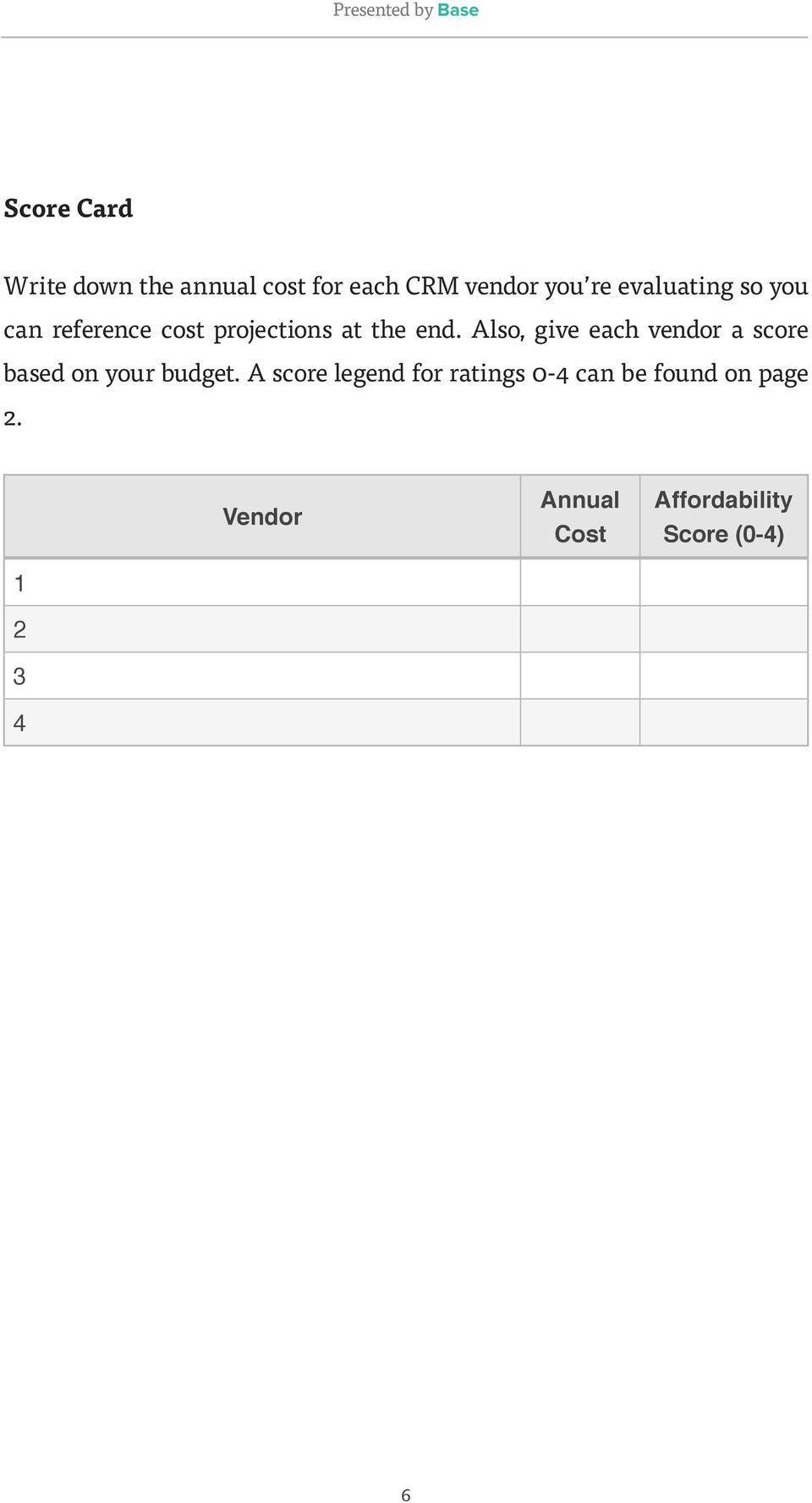 Also, give each vendor a score based on your budget.