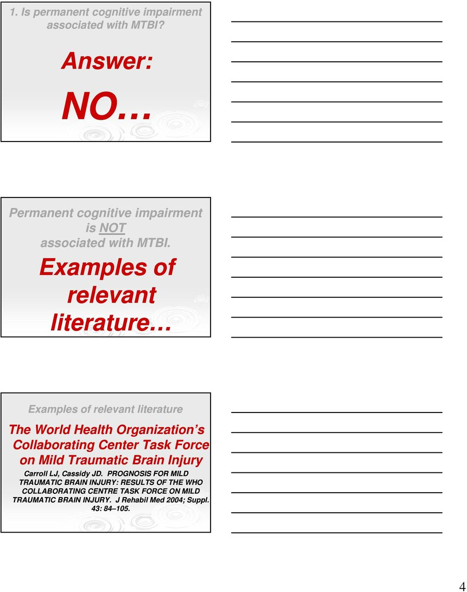 Examples of relevant literature Examples of relevant literature The World Health Organization s Collaborating Center