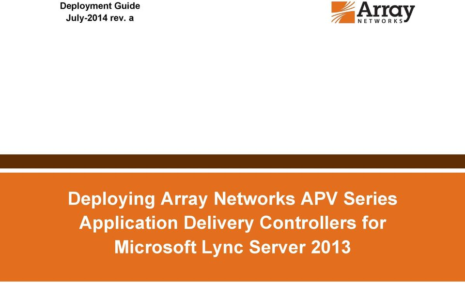Series Application Delivery