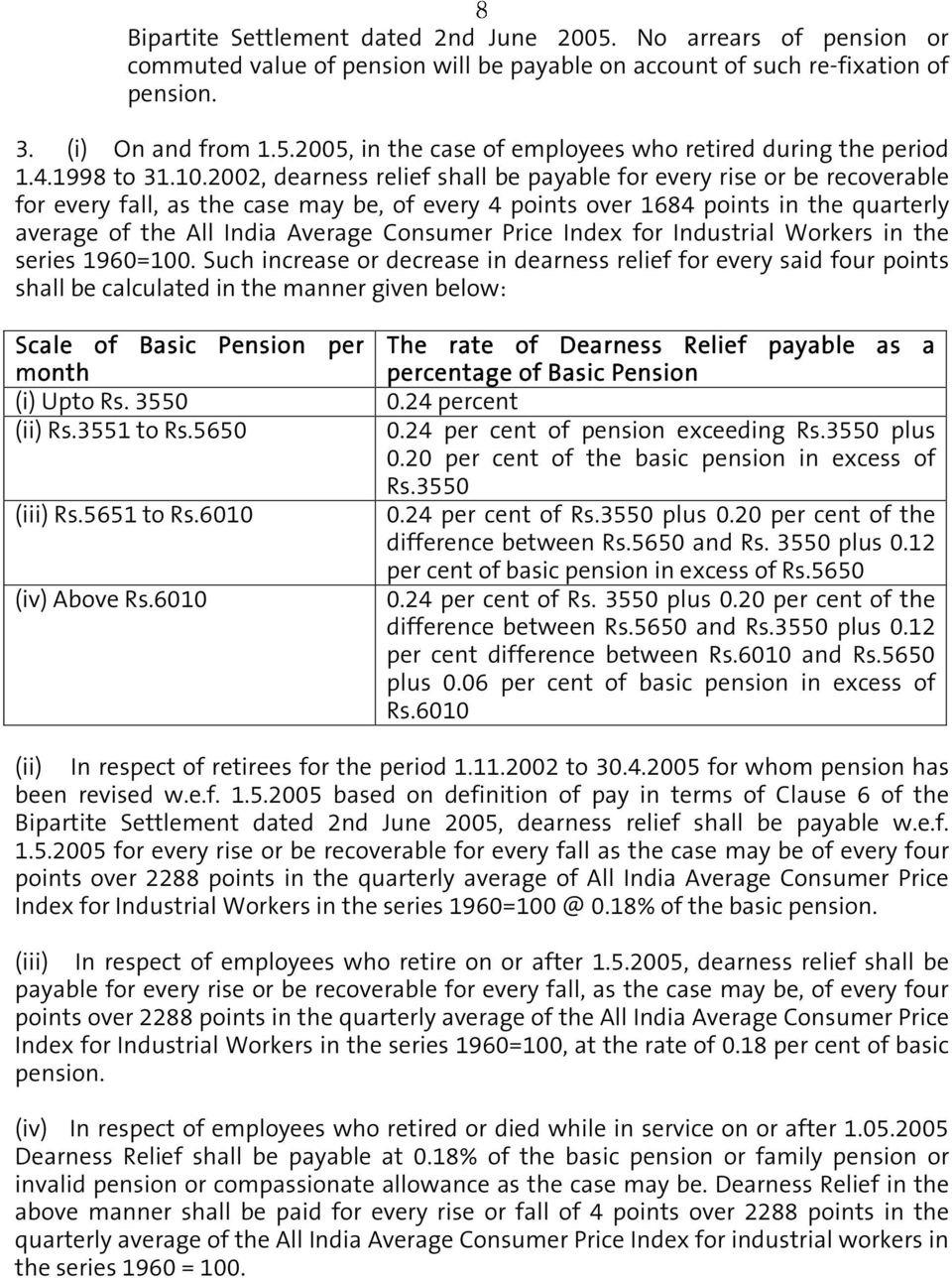 2002, dearness relief shall be payable for every rise or be recoverable for every fall, as the case may be, of every 4 points over 1684 points in the quarterly average of the All India Average