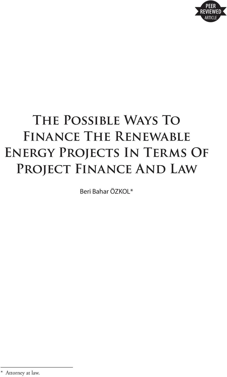Terms Of Project Finance And Law