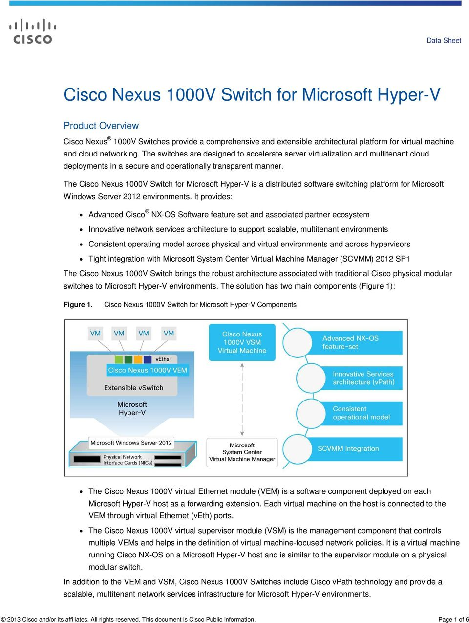 The Cisco Nexus 1000V Switch for Microsoft Hyper-V is a distributed software switching platform for Microsoft Windows Server 2012 environments.