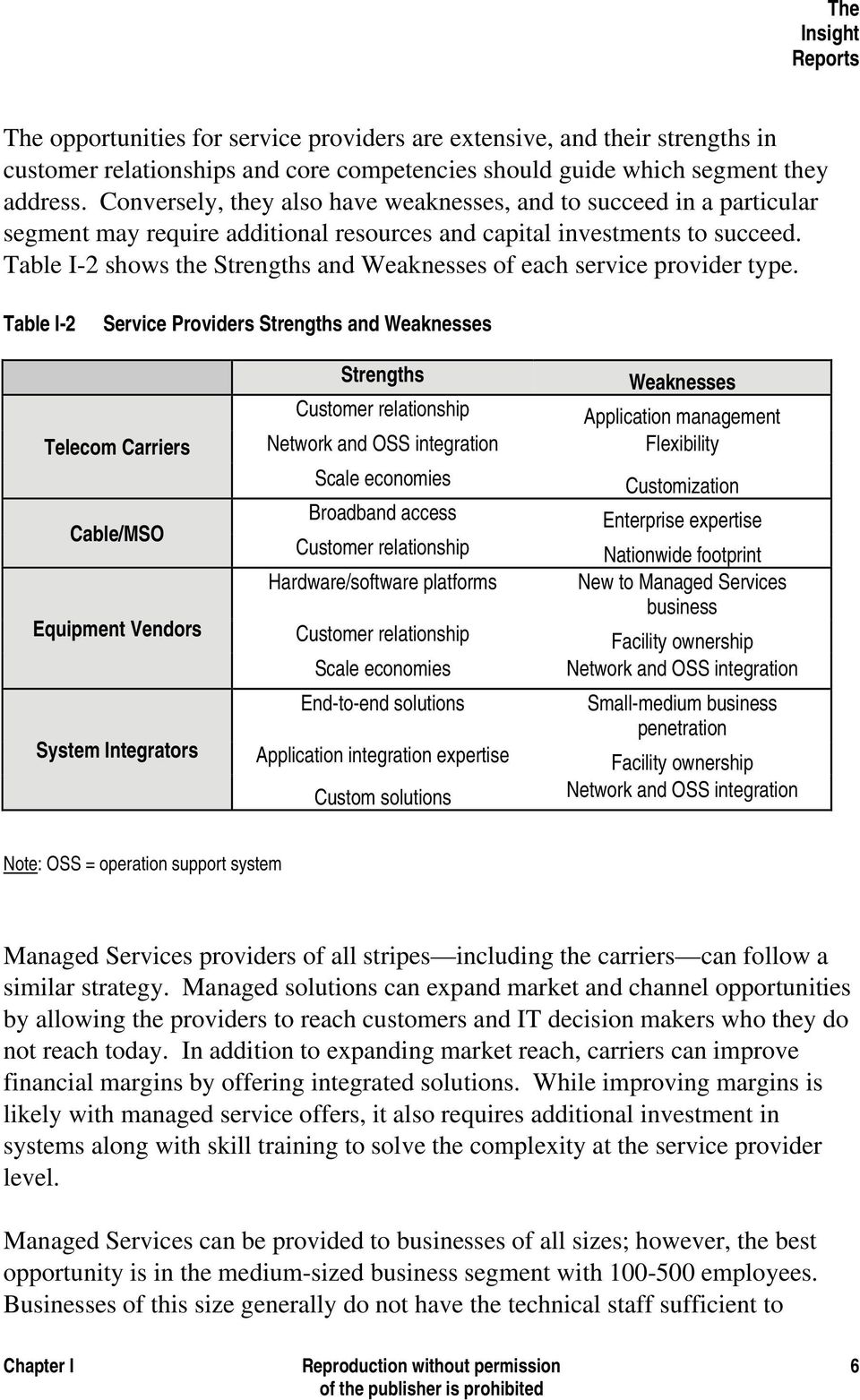 Table I-2 shows the Strengths and Weaknesses of each service provider type.