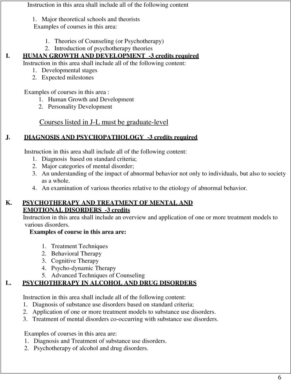 Personality Development Courses listed in J-L must be graduate-level J. DIAGNOSIS AND PSYCHOPATHOLOGY -3 credits required 1. Diagnosis based on standard criteria; 2.